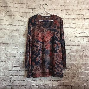 Soft surroundings  large tunic floral birds